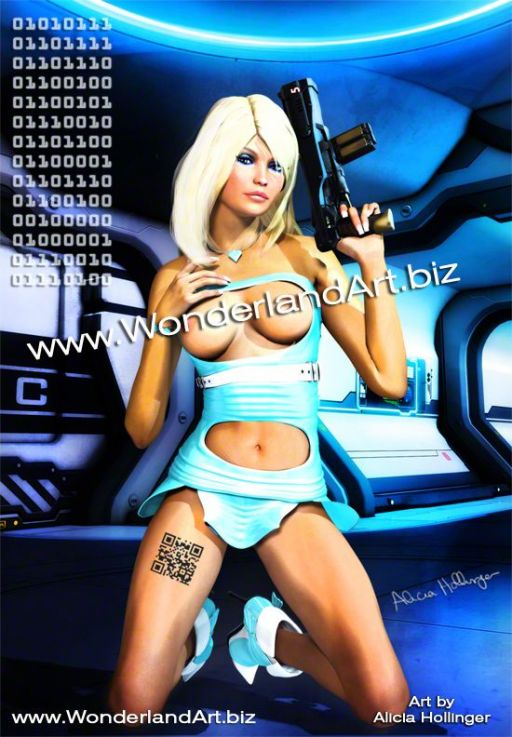 SCi-Fi-Topless-Blonde-with-a-Gun-Alicia_Hollinger-02 - Sci-fi, Fantasy and Girlicious Pin-Up Art by Alicia Hollinger, http://www.AliciaHollinger.com FB: http://www.facebook.com/AliciaHollingerArt Twitter: @AliciaHollinger