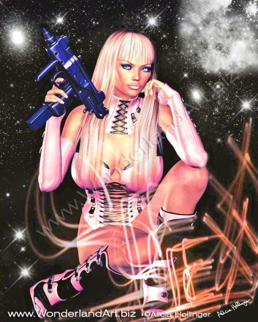 Venus-in-Pink-by-Alicia_Hollinger - Sci-fi, Fantasy and Girlicious Pin-Up Art by Alicia Hollinger, http://www.AliciaHollinger.com FB: http://www.facebook.com/AliciaHollingerArt Twitter: @AliciaHollinger