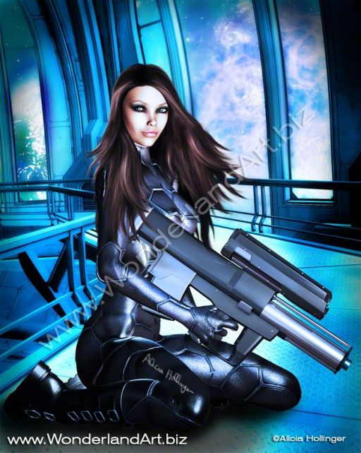 Sci-Fi-Brunette-with-a-Big-Gun-by-Alicia_Hollinger - Sci-fi, Fantasy and Girlicious Pin-Up Art by Alicia Hollinger, http://www.AliciaHollinger.com FB: http://www.facebook.com/AliciaHollingerArt Twitter: @AliciaHollinger